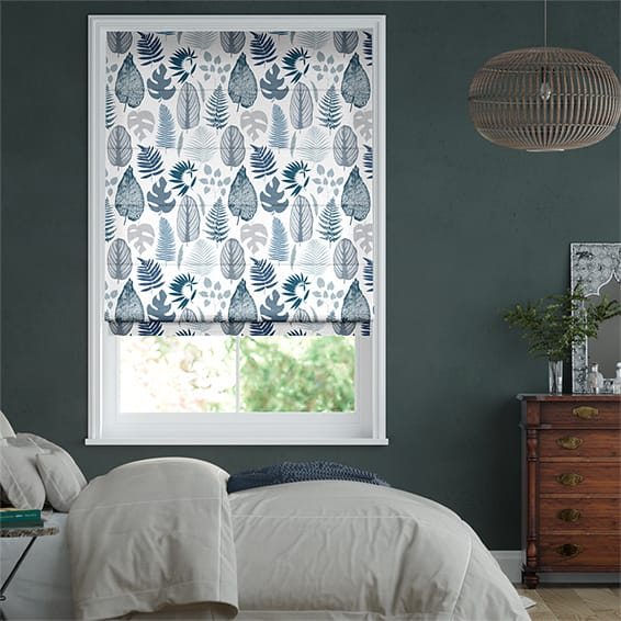 Tropical Leaves Midnight Roman Blind