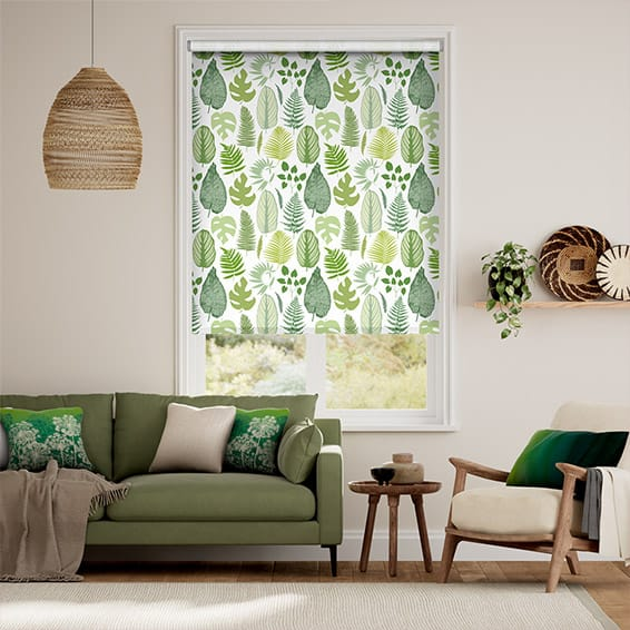 Tropical Leaves Moss Roller Blind