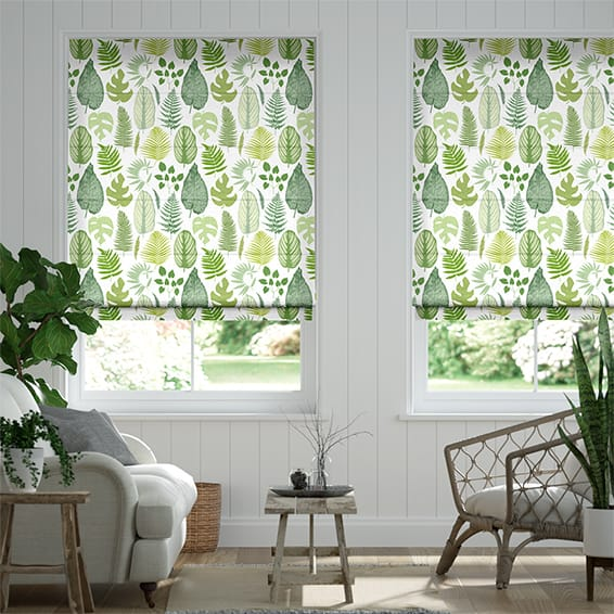 Tropical Leaves Moss Roman Blind