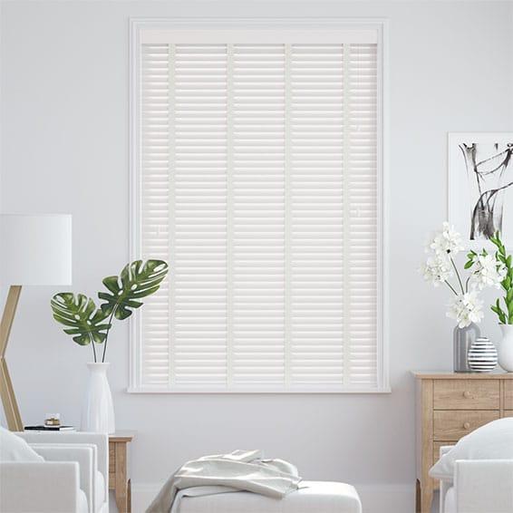 True White & Linen Faux Wood Blind - 35mm Slat