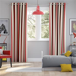 Truro Stripe Candy Red Curtains thumbnail image