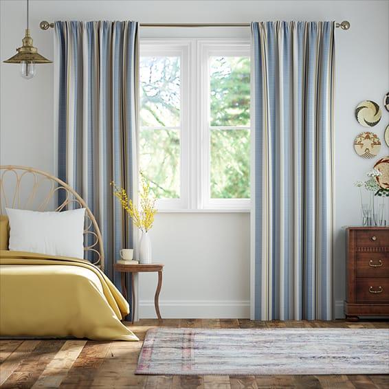 Truro Stripe Coastal Blue Curtains