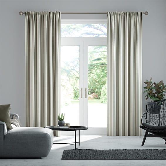 Truro Stripe Linen Sandstone Curtains