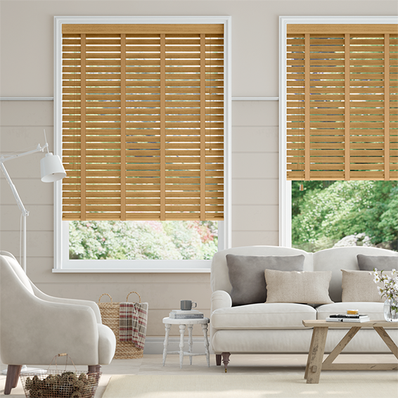 Tuscan Oak & Tan Wooden Blind with Tapes - 50mm Slat