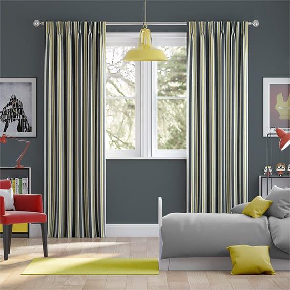 Twill Stripe Linen Gold Shadow Curtains