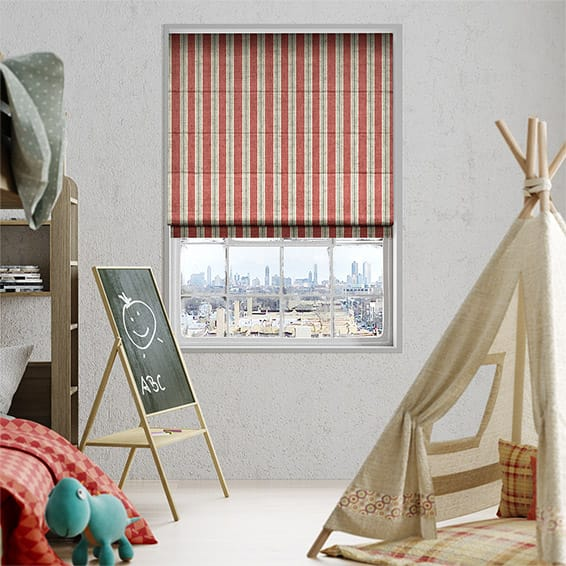 Twill Stripe Linen Party Red Roman Blind