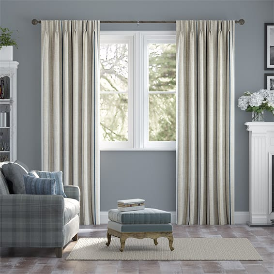 Twill Stripe Linen Ribbon Blue Curtains