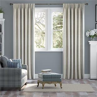 Twill Stripe Linen Ribbon Blue Curtains thumbnail image