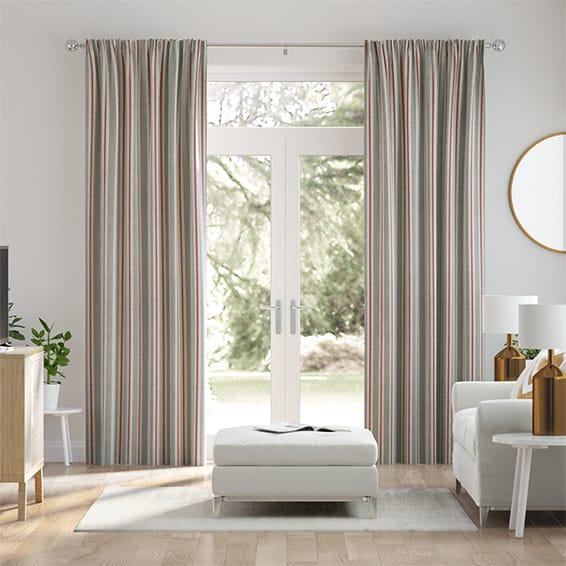 Twill Stripe Linen Strawberry Curtains