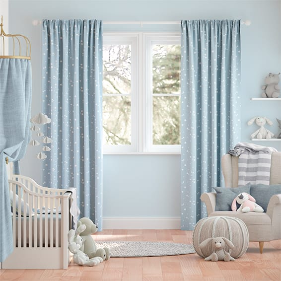 Twinkling Stars Baby Blue Curtains