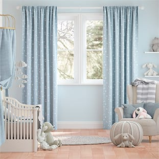 Twinkling Stars Baby Blue Curtains thumbnail image