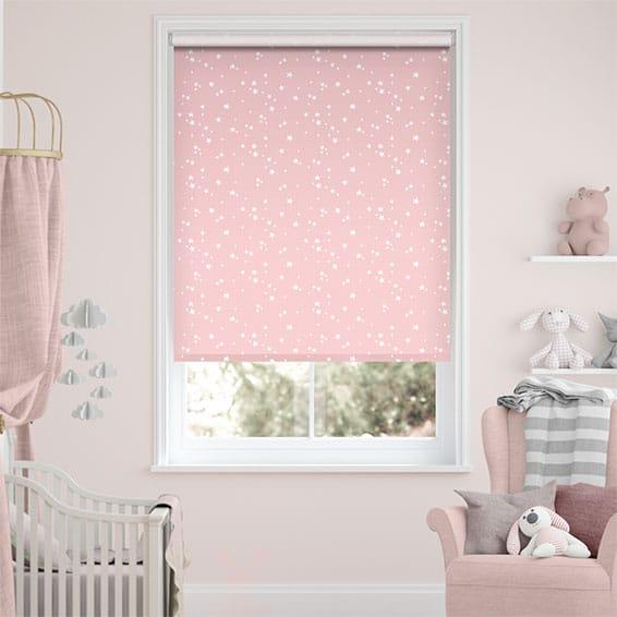 Twinkling Stars Blackout Candyfloss Pink Roller Blind