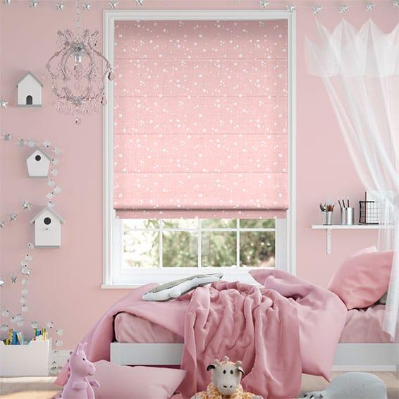 Twinkling Stars Candyfloss Pink Roman Blind