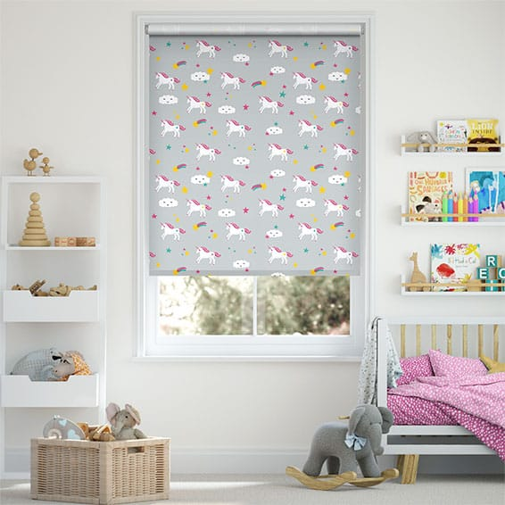 Unicorn Dreams Blackout Grey Roller Blind