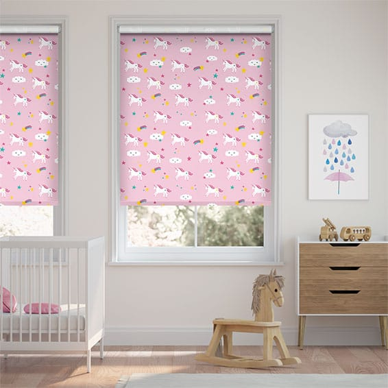 Unicorn Dreams Blackout Pink Roller Blind