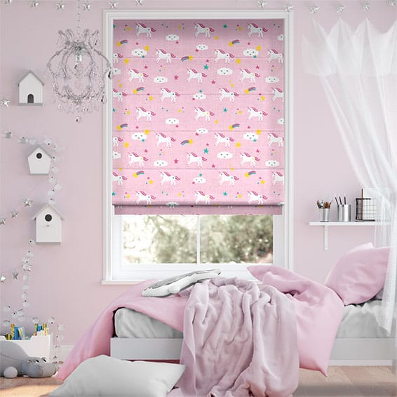 Unicorn Dreams Pink Roman Blind