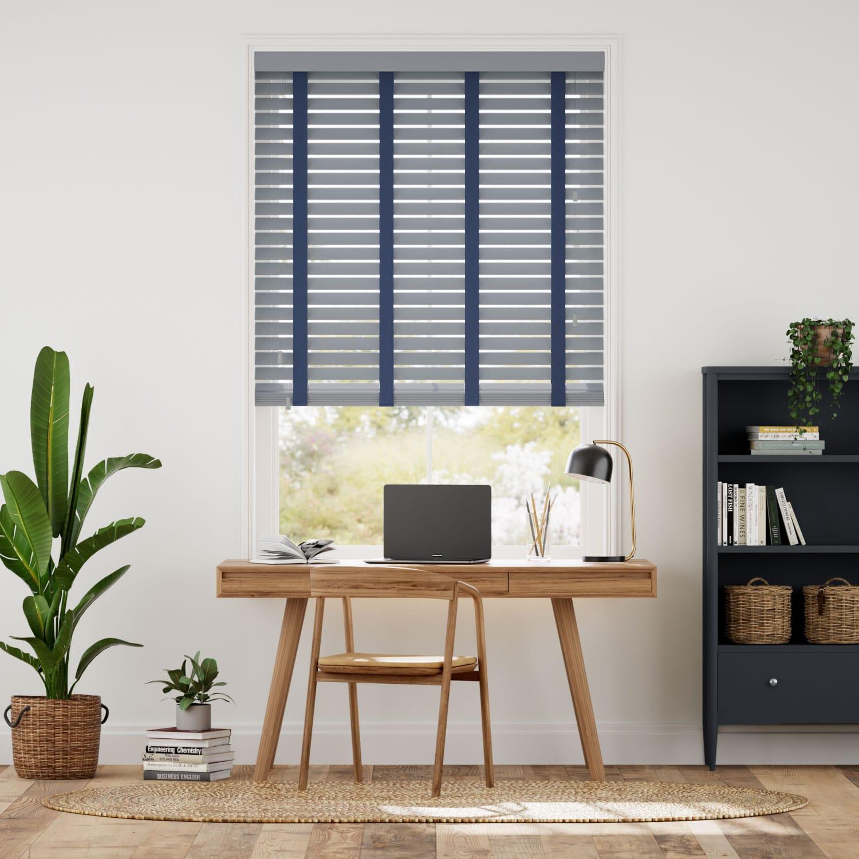 Urban Grey & Oxford Blue Faux Wood Blind - 50mm Slat
