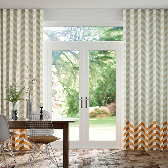 Wave Vector Border Tangerine Curtains