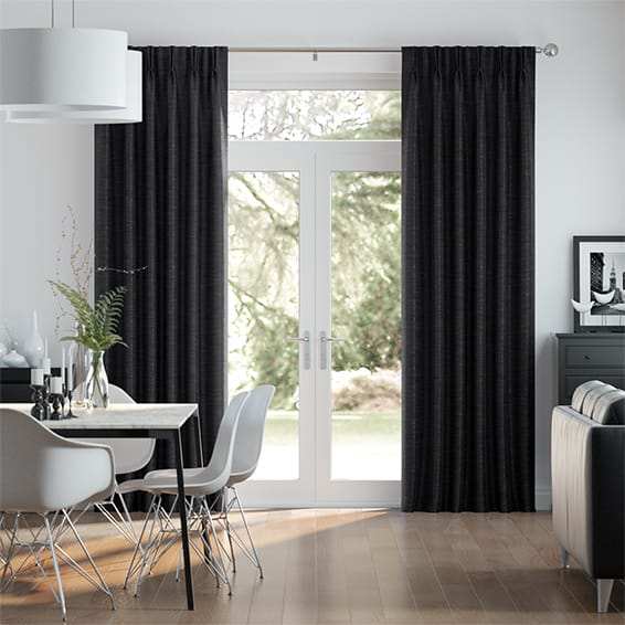 Vicenza Faux Silk Black Curtains