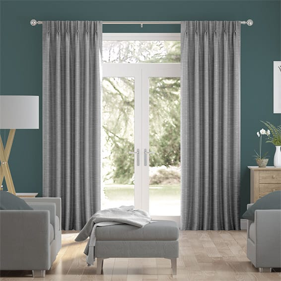 Vicenza Faux Silk Grey Curtains