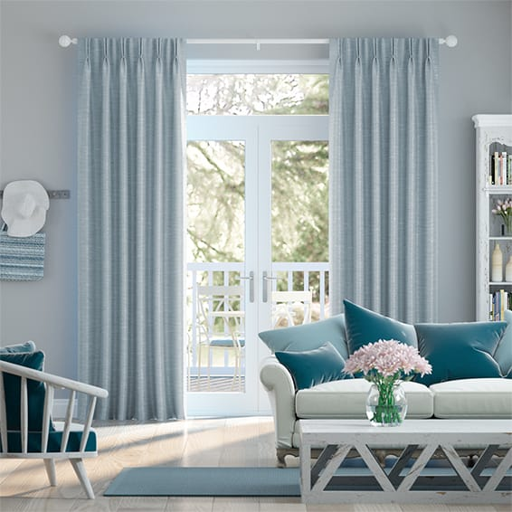 Vicenza Faux Silk Pastel Blue Curtains