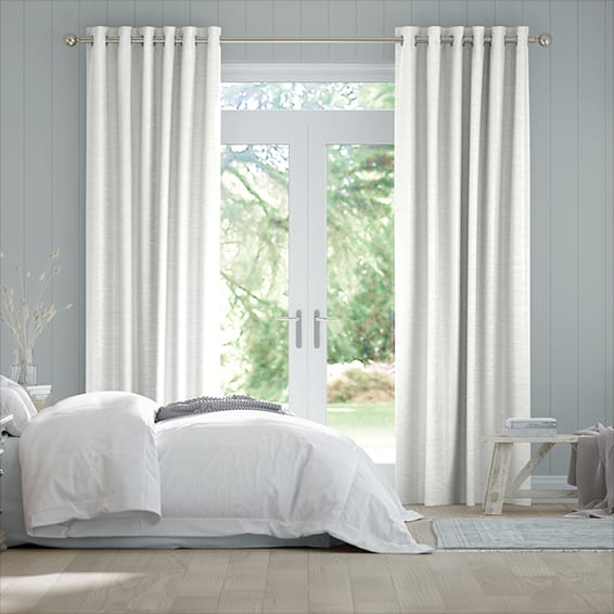 Vicenza Faux Silk Snow White Curtains