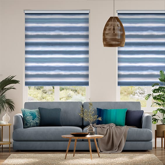 Watercolour Stripe Blue Roller Blind