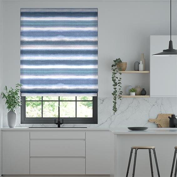 Watercolour Stripe Blue Roman Blind