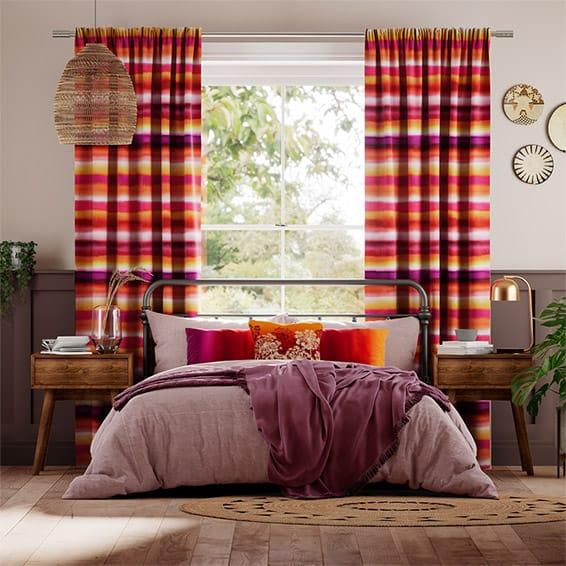 Watercolour Stripe Sunset Curtains