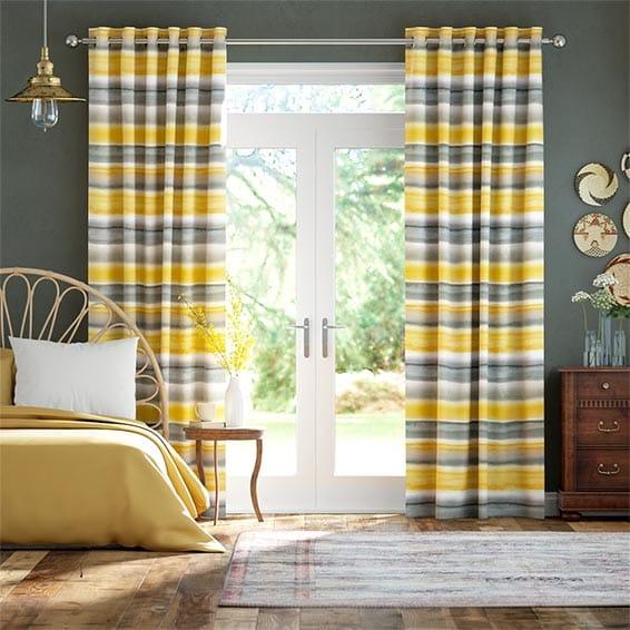 Watercolour Stripe Ochre Curtains