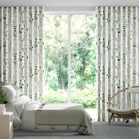 Wave Alyssa Linen Leaf Green Curtains