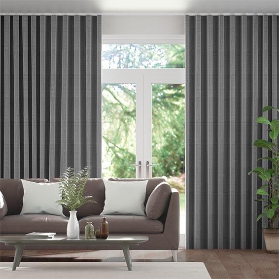 Wave Amore Gunmetal Grey Curtains