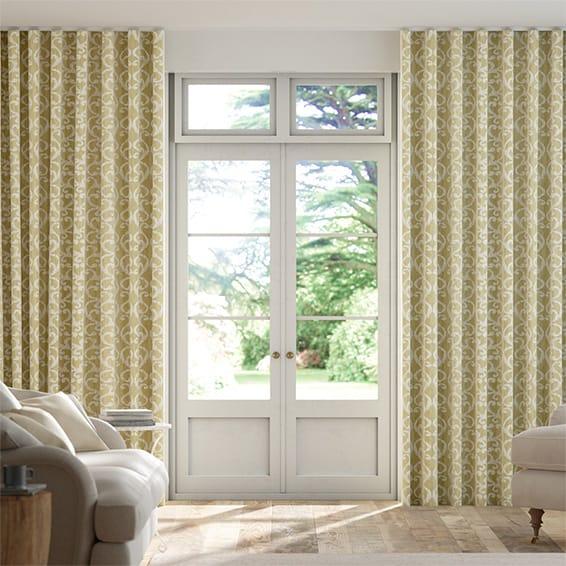 Wave Baroc Saffron Curtains