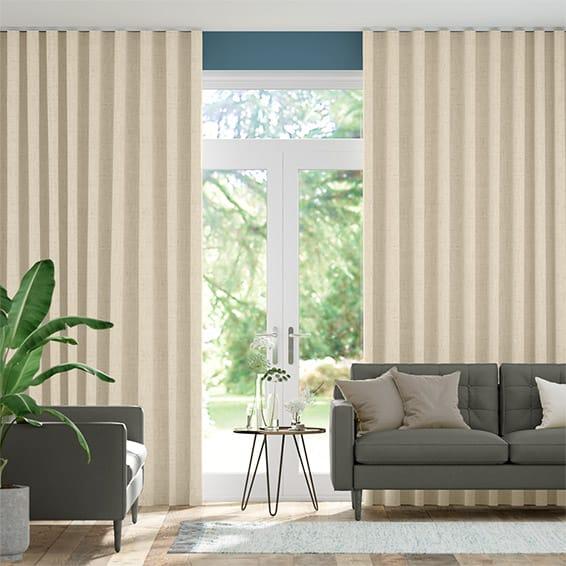 Wave Bijou Linen Alabaster  Curtains