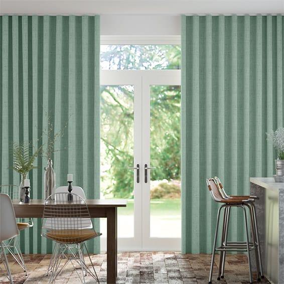 Wave Bijou Linen Aqua  Curtains