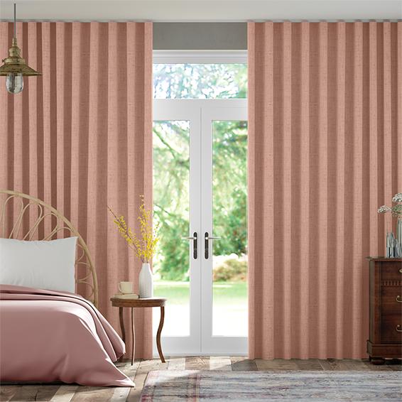 Wave Bijou Linen Blush Pink  Curtains