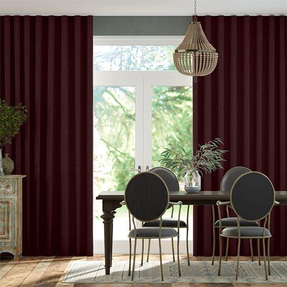 Wave Bijou Linen Grape  Curtains