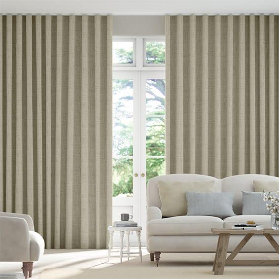 Wave Bijou Linen Latte  Curtains