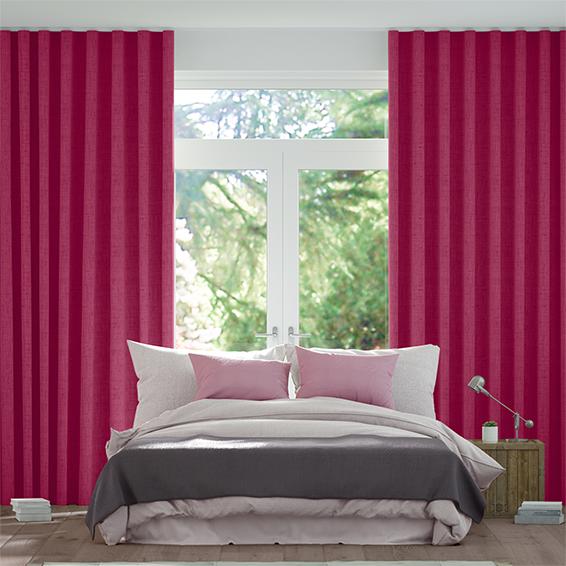 Wave Bijou Linen Magenta  Curtains
