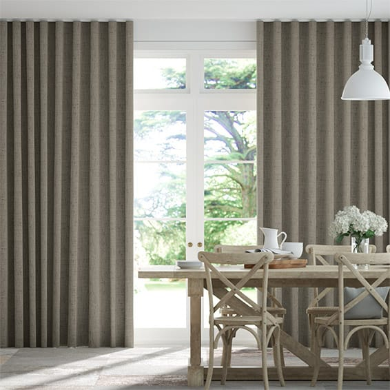 Wave Bijou Linen Taupe  Curtains