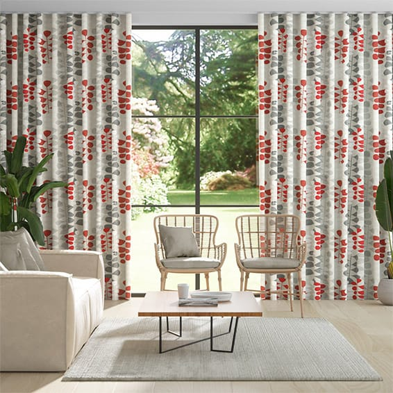 Wave Blooming Meadow Linen Ruby Curtains