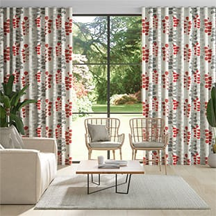 Wave Blooming Meadow Linen Ruby Wave Curtains thumbnail image