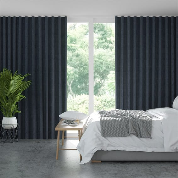Wave Cavendish Navy  Curtains