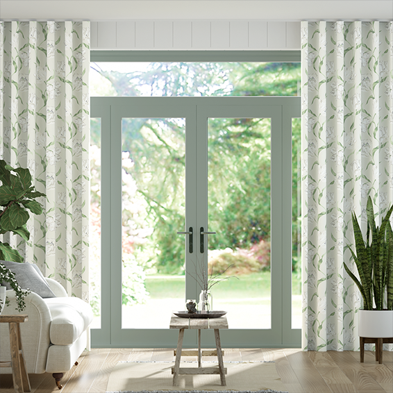 Wave Dancing Tulips Cream Curtains
