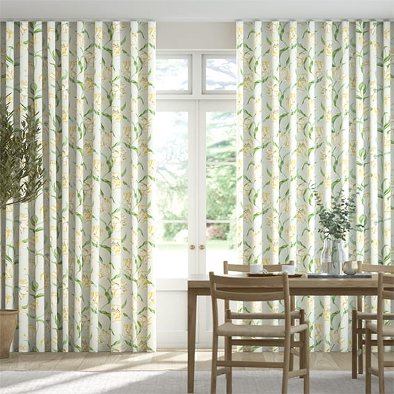 Wave Dancing Tulips Green Curtains