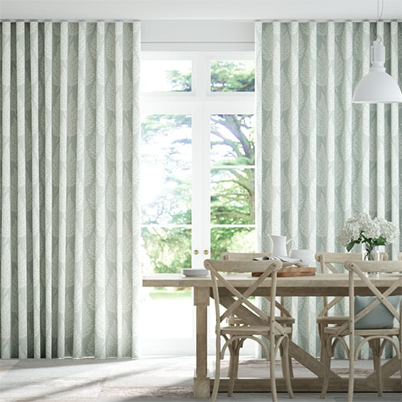 Wave Elm Silver Curtains