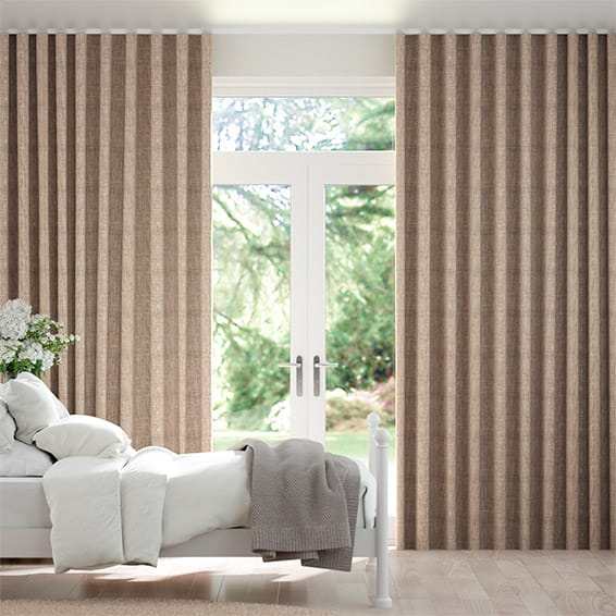 Wave Eternity Linen Biscuit Curtains