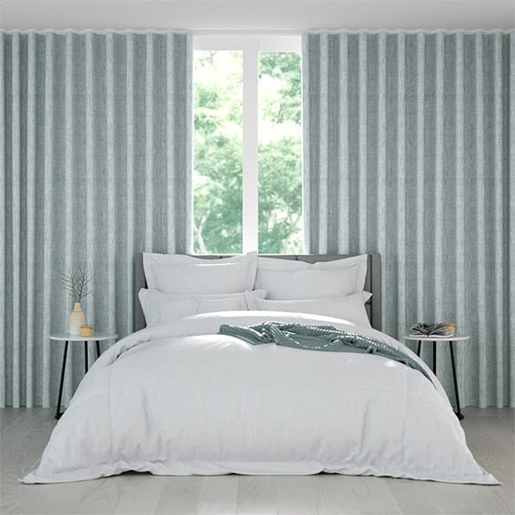 Wave Eternity Linen Blue Mist Curtains