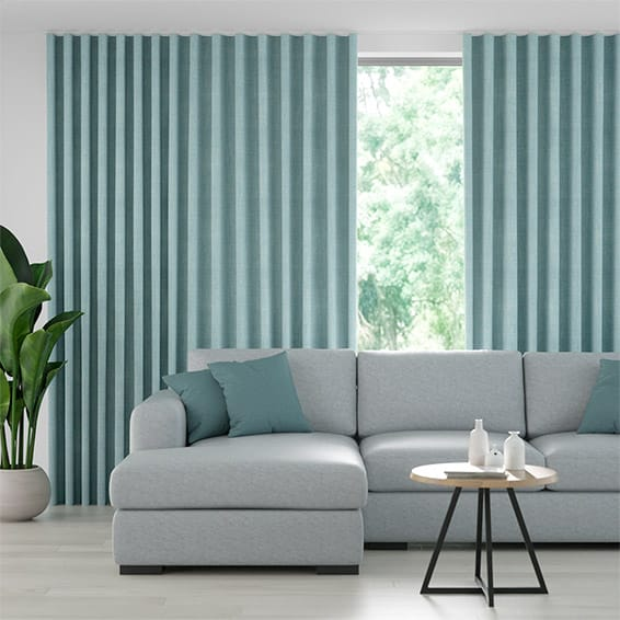 Wave Eternity Linen Teal Curtains