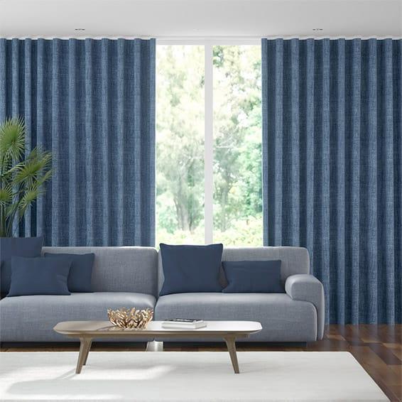 Wave Eternity Linen Whale Blue Curtains